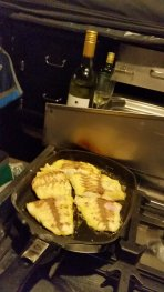 Kaz cooking the catch that night.... yum!!